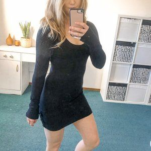 Le Chateau Black Knit Long Sleeve Bodycon Dress